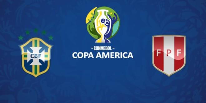 صورة الهدف الأول للبرازيل في مرمى البيرو