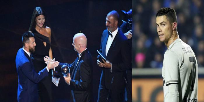 """صورة رونالدو يتفاعل بـ""""عبارات تشجيعية"""" مع تتويج ميسي كأفضل لاعب في العالم"""