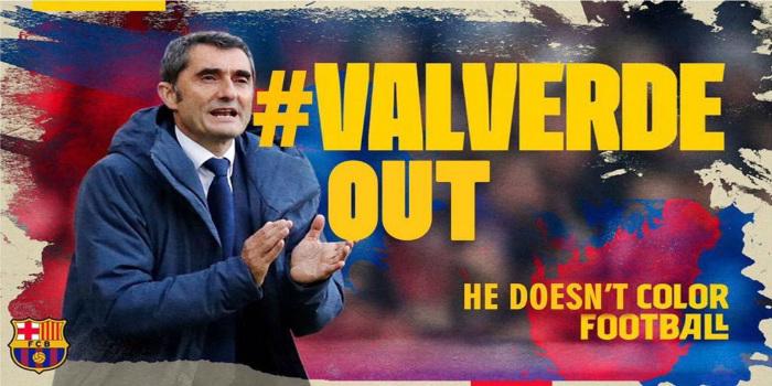صورة فالفيردي إلى الخارج.. جماهير برشلونة تنتفض وتقود حملة لإقالة مدربها