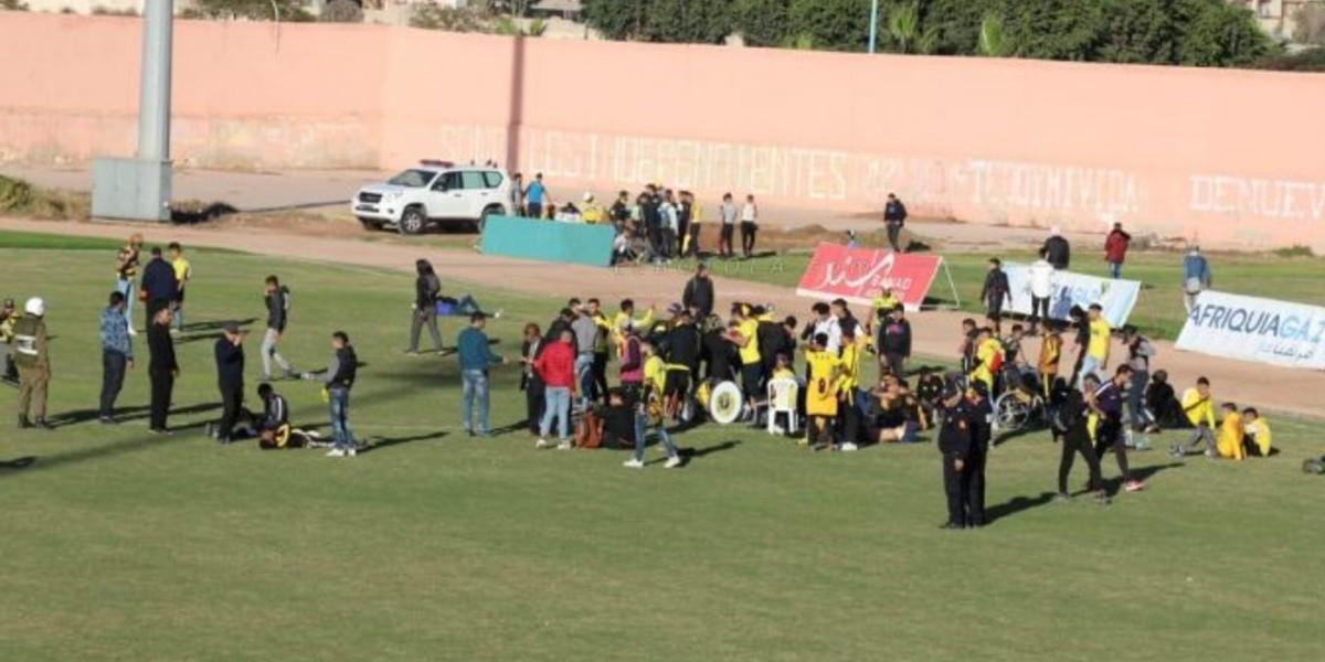 صورة أعمال شغب وفوضى في مباراة أولمبيك الدشيرة والمغرب الفاسي