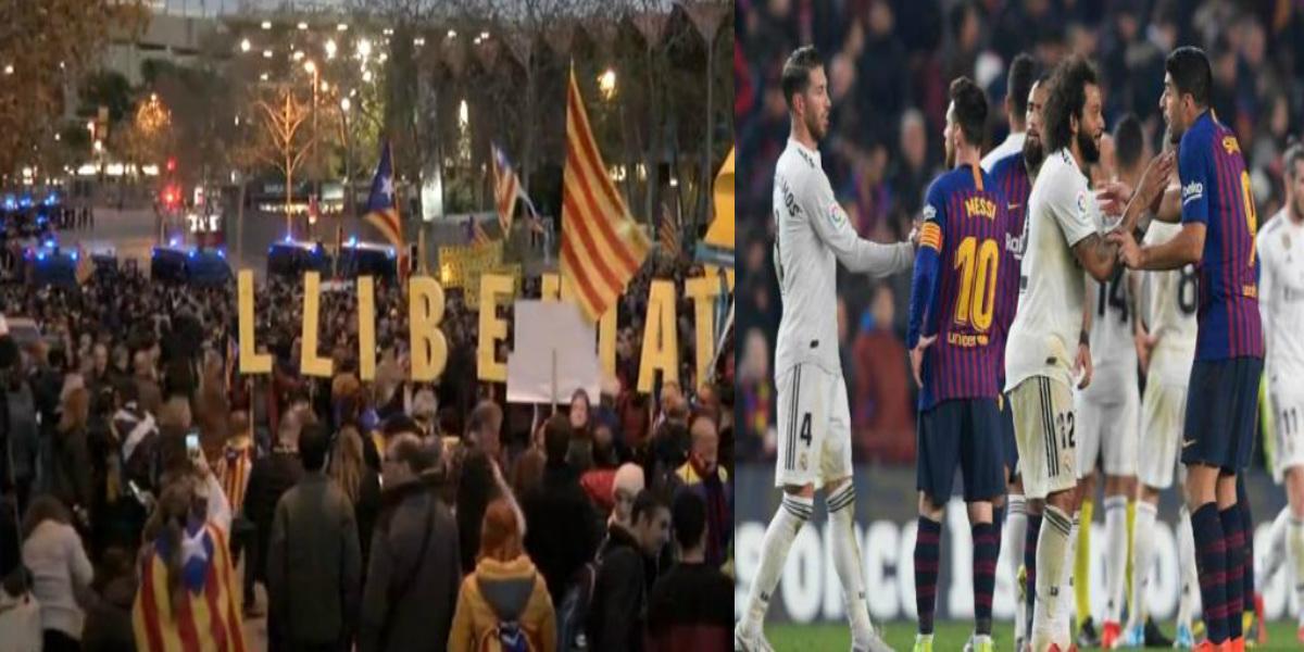 """صورة """"كلاسيكو"""" برشلونة ريال مدريد.. مظاهرات في محيط ملعب """"الكامب نو"""""""