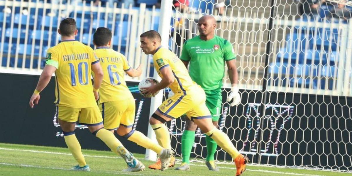 """صورة حمد الله يسجل """"هاتريك"""" وينقذ النصر من الهزيمة أمام ضمك- فيديو"""