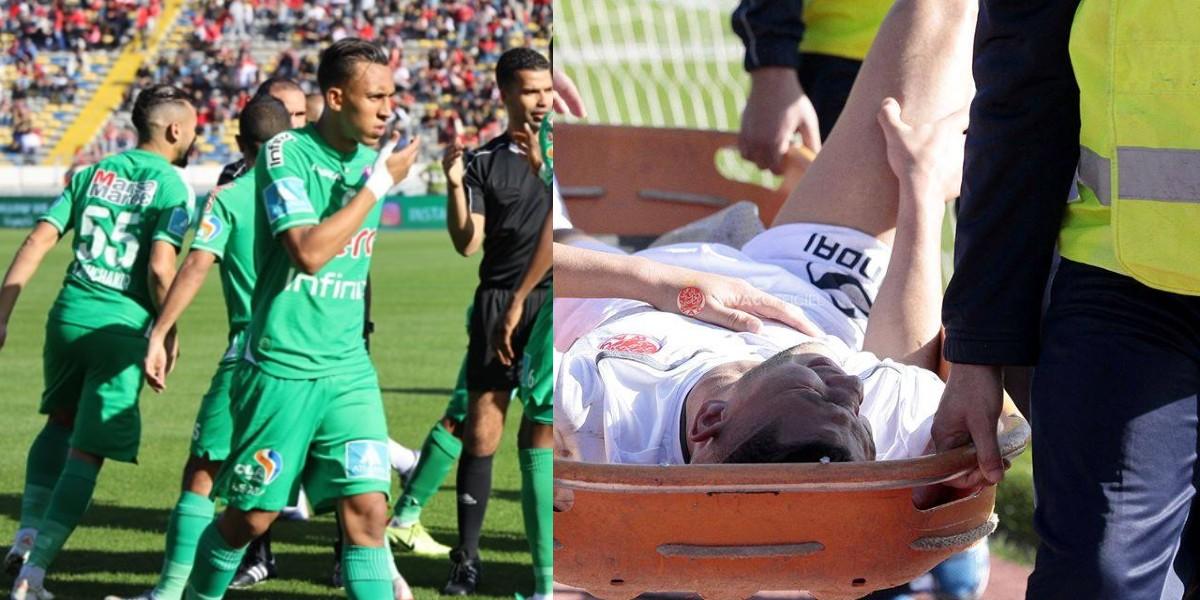 صورة صورة معبرة.. نجم الرجاء يزور لاعب الوداد بعد عمليته الجراحية