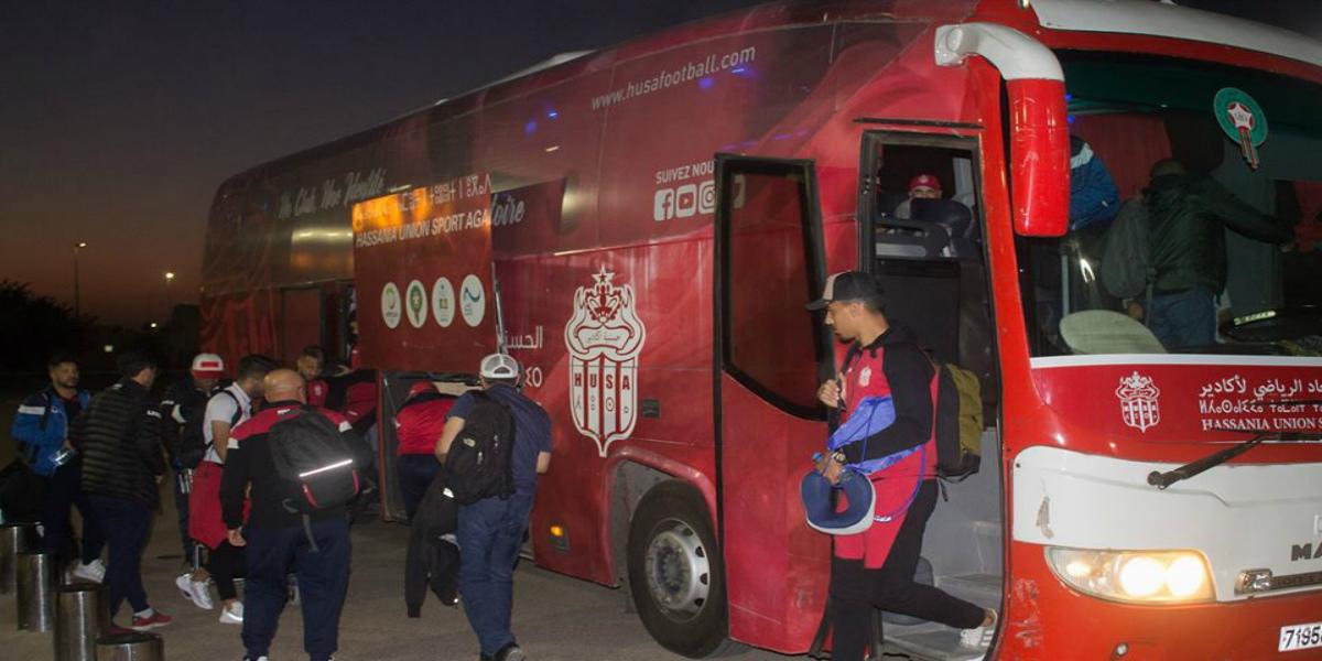 صورة بعثة حسنية أكادير تصل إلى الدار البيضاء قبل التوجه إلى مصر