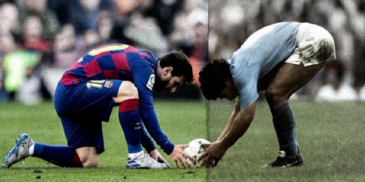 صورة ميسي يكرم مارادونا على طريقته الخاصة -صورة