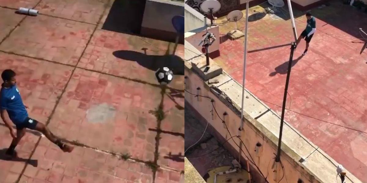 """صورة صفحة """"433"""" العالمية تتفاعل مع فيديو الشابين المغربيين وهما يلعبان كرة القدم أثناء الحجر الصحي"""