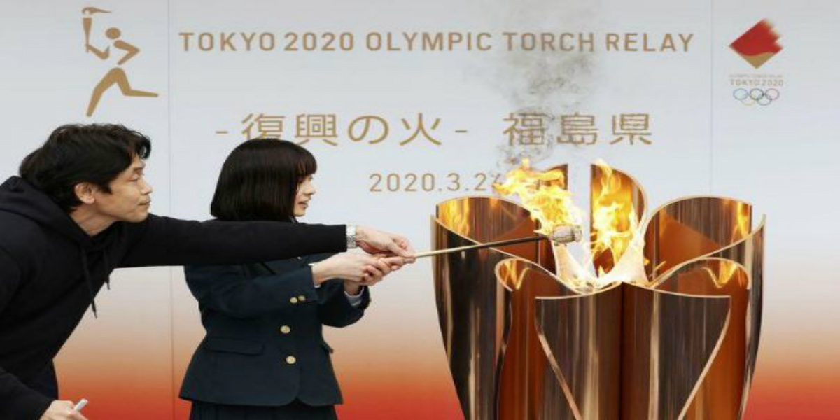 صورة تسليم الشعلة الأولمبية إلى بلدية فوكوشيما خلال حفل هادئ