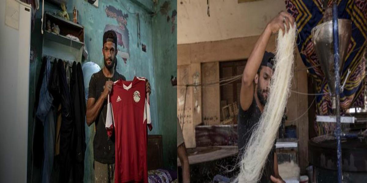 """صورة في زمن """"كورونا"""".. لاعب مصري يتحول لبائع حلوى"""