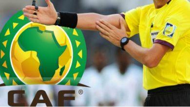 صورة طاقم تحكيم مغربي لمباراة روندا وغينيا في أمم إفريقيا للاعبين المحليين