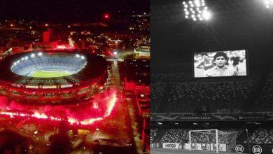"""صورة """"النابوليون"""" يشعلون محيط ملعب """"مارادونا"""" والفريق يودع أسطورته في لقاء ريجيكا"""