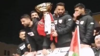 """صورة وشاح """"وينرز"""" حاضر في احتفالات شباب الخليل والوداد يهنئ الفريق الفلسطيني على إنجازه"""