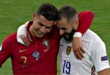 صورة لقاء خاص بين بنزيما ورونالدو في مباراة فرنسا والبرتغال- فيديو