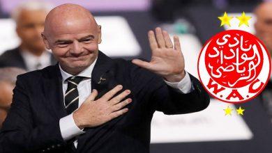 """صورة بعد تحقيقه لقب البطولة.. رئيس """"الفيفا"""" يبعث برسالة تهنئة للوداد"""