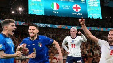 صورة التشكيلة الأساسية لكل من إنجلترا وإيطاليا في نهائي كأس أمم أوروبا