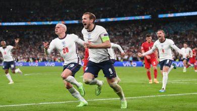 """صورة في مباراة امتدت للأشواط الإضافية.. إنجلترا تنتصر على الدانمارك وتتأهل للدور النهائي من """"اليورو""""- فيديو"""
