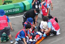 """صورة حادث خطير لمتسابق بدراجات """"BMX"""" في أولمبياد طوكيو"""