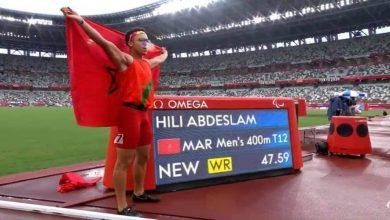 صورة محققا رقما قياسيا عالميا.. حيلي يمنح المغرب ذهبية في سباق 400 متر