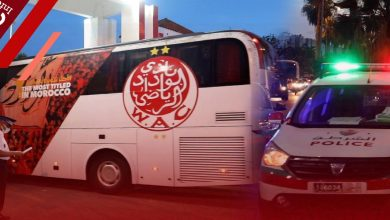 """صورة تعزيزات أمنية """"مهمة"""" ترافق حافلة الوداد الرياضي في المحمدية -فيديو"""